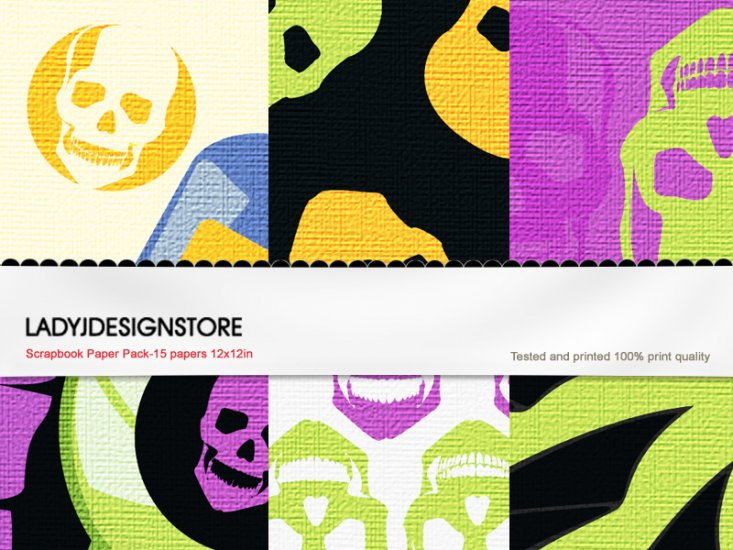 Digital papers - Halloween Neon Sculls - Click Image to Close