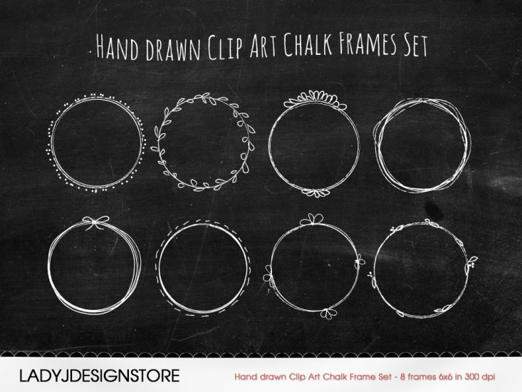 Hand drawn Clip Art Chalk Frames Set - Click Image to Close