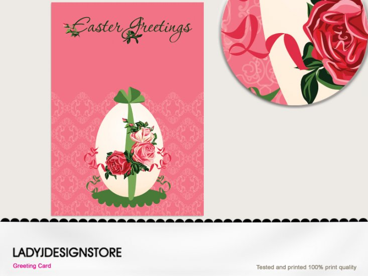Easter greeting - Easter egg pink Damask - Click Image to Close
