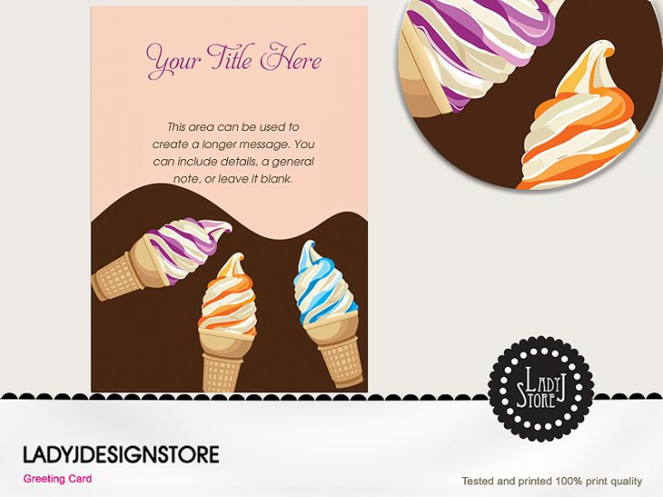 Ice cream party cones invitation card - Click Image to Close