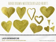 Watercolor Heart Gold Clip Art