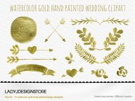 Watercolor Gold Clip Art No.1 - 12 Gold Metallic Watercolor