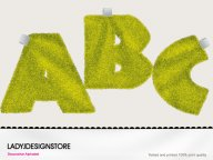 Digital decorative bath towels - capital yellow letters
