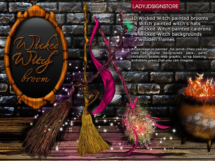 Wicked witch broom ultimate designed bundle - Click Image to Close