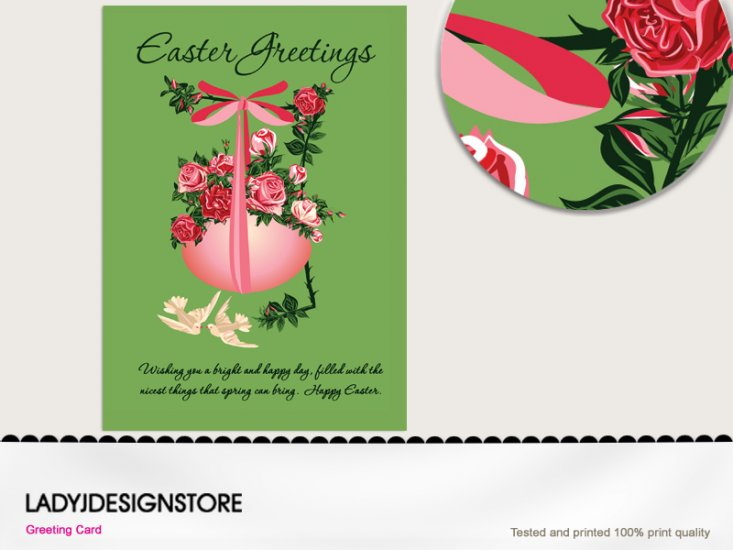 Easter greeting - Easter egg rose pink bow - Click Image to Close