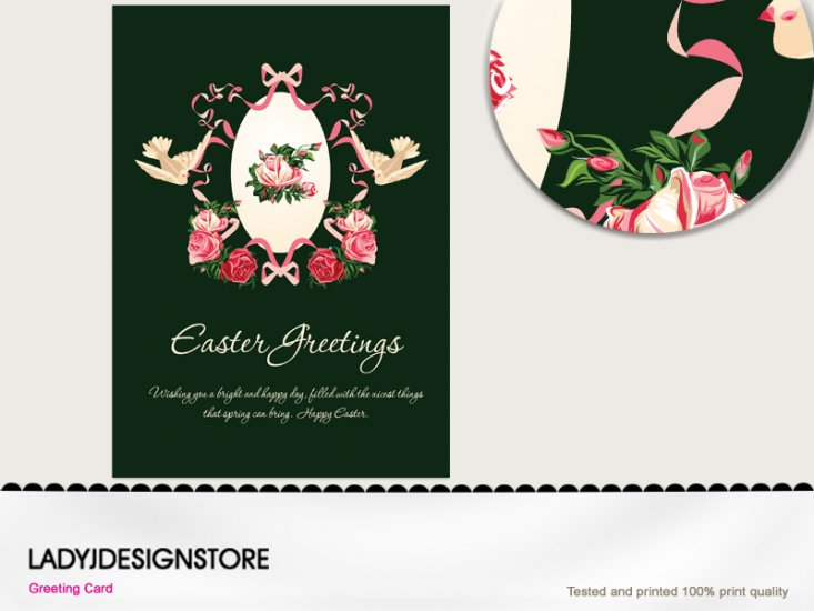 Easter greeting - Easter egg English rose doves elegant - Click Image to Close