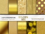 Gold Digital Paper Mix Bokeh, Glitter, Wood, Foil, Chevron