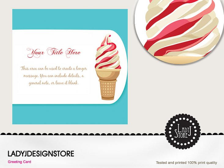 Strawberry - vanilla ice cream party card - Click Image to Close