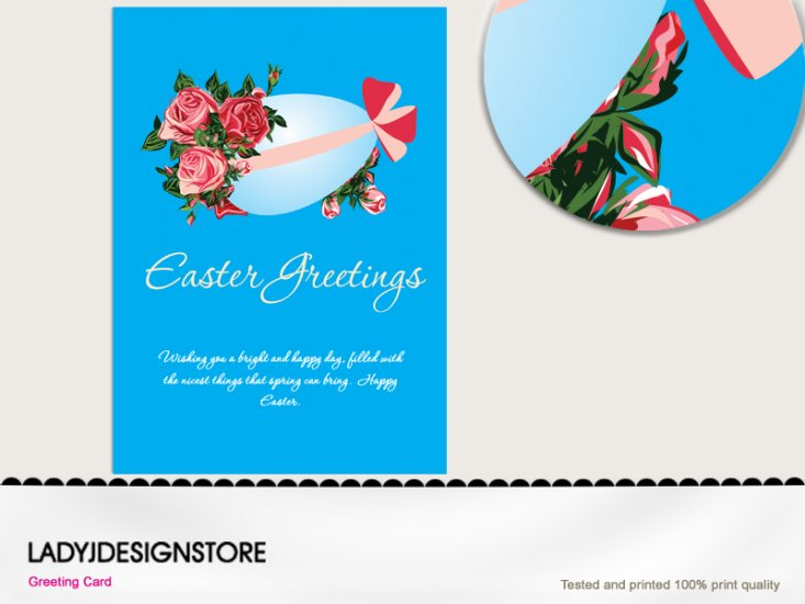 Easter vintage blue egg greeting - Click Image to Close
