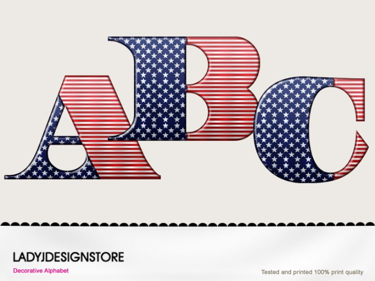 Digital decorative patriotic alphabet - Click Image to Close