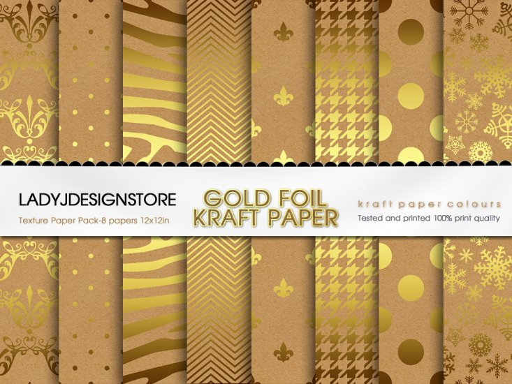 Gold Foil Kraft Paper - Click Image to Close