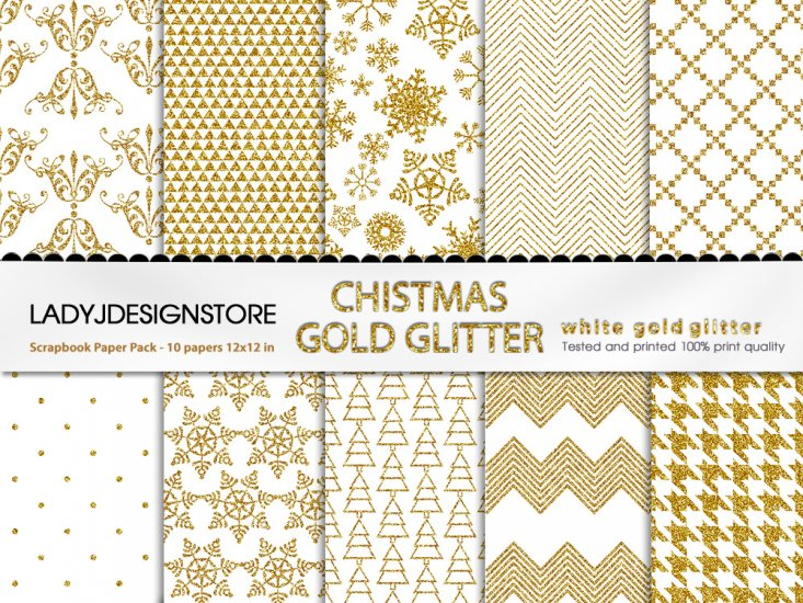 Christmas White Gold Glitter - Click Image to Close