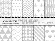 Silver White Glitter Digital Papers