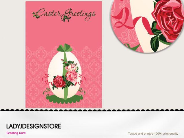 Easter greeting - Easter egg pink Damask