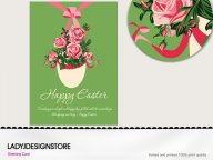 Easter greeting - Easter egg English rose flower