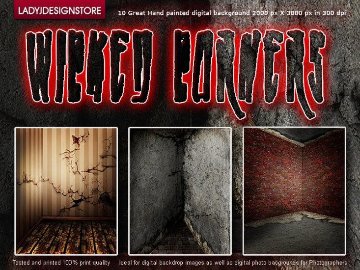 Wicked corners - hand painted digital background - Click Image to Close
