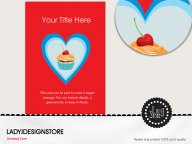 Heart candy cupcake birthday invitation card