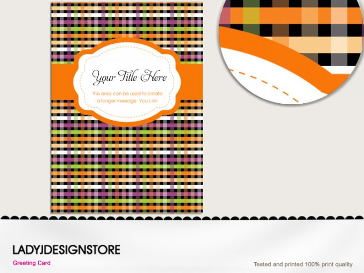 Halloween gingham checked invitation - Click Image to Close