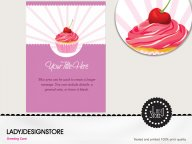 Surprise Violet Candy Cupcake Birthday Invitation Card