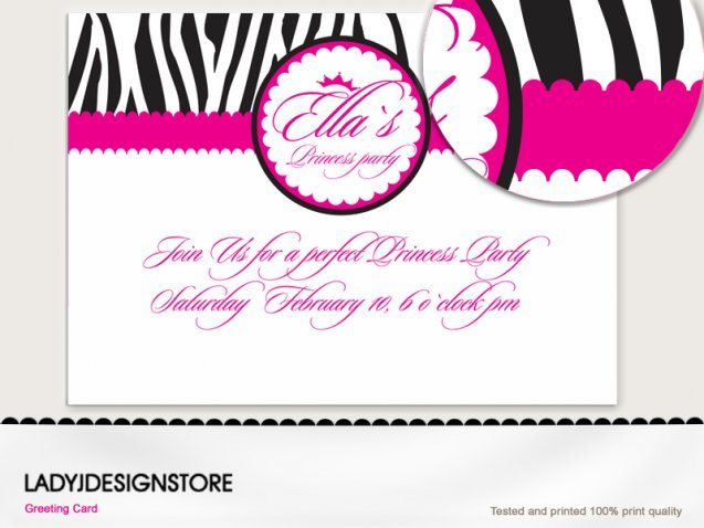 Zebra princess invitation