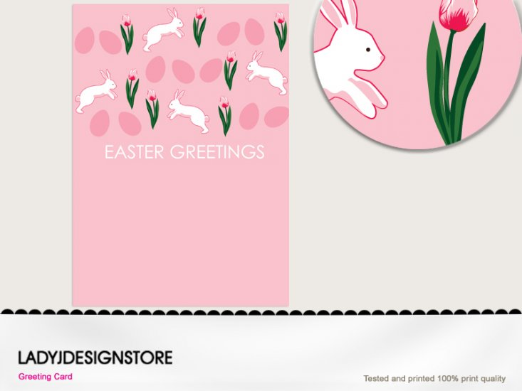 Easter greeting - Easter egg hunt pink bunny - Click Image to Close