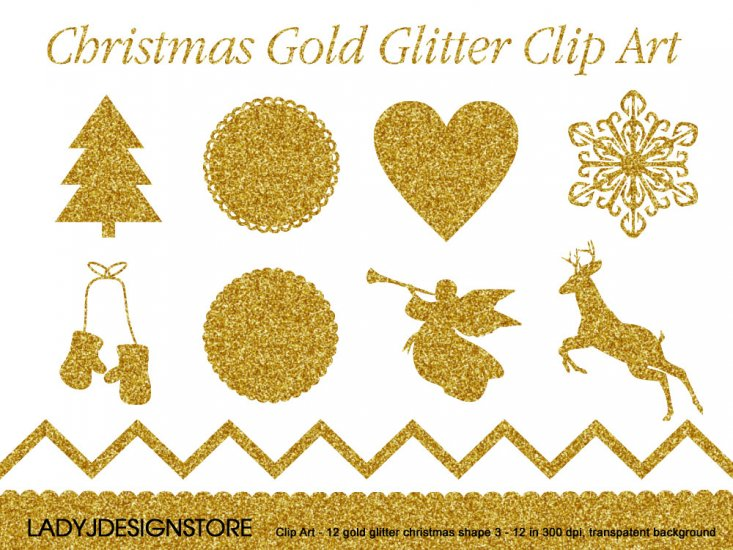 Christmas Gold Glitter Clip Art - Click Image to Close