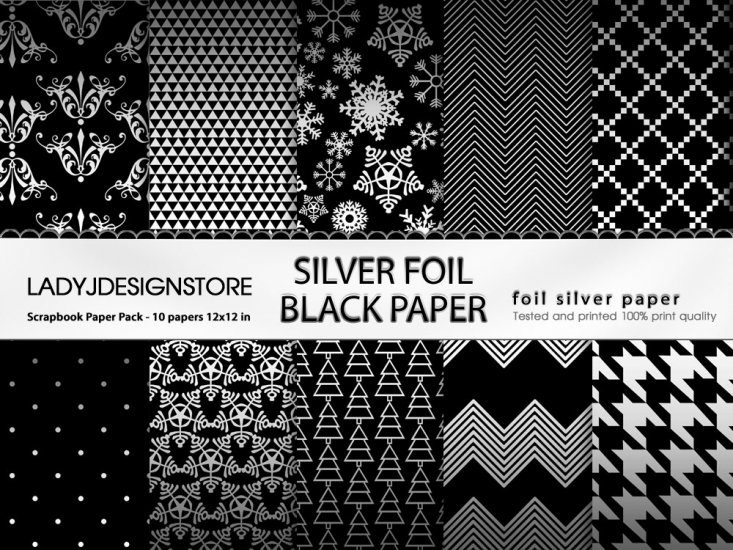 Silver Foil Black Paper - Click Image to Close