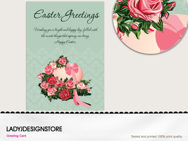 Easter greeting - Easter egg English rose flower bouquet