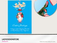 Easter greeting - Easter egg English rose doves