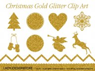 Christmas Gold Glitter Clip Art