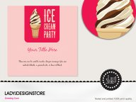 Chocolate ice cream cone party invitation card