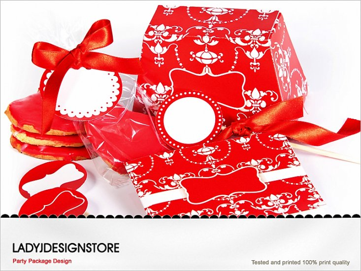 Elegant Red Printable Party Pack - Click Image to Close