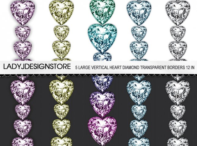Heart Diamond Digital Clip Art Border