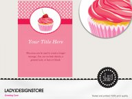 Surprise pink candy cupcake birthday invitation card