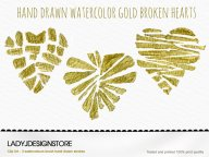 Hand Drawn Watercolor Gold Broken Hearts