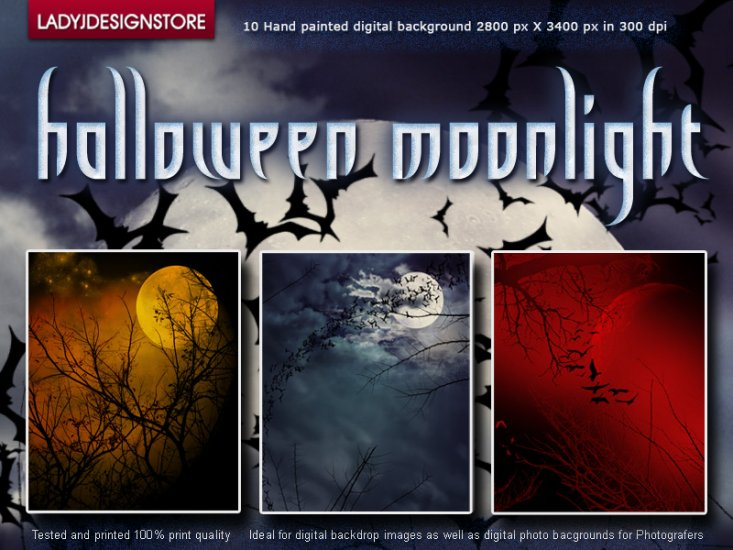 Halloween moonlights - Hand painted digital background - Click Image to Close