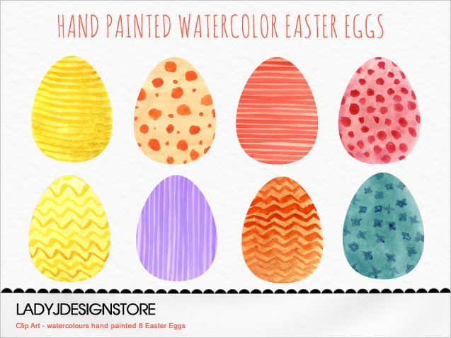 Watercolor Hand Painted Clip Art Easter Eggs