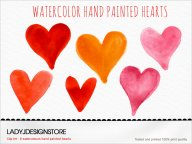 Watercolor Hand Painted Hearts Clip Art