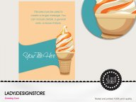 Caramel ice cream cone party invitation card