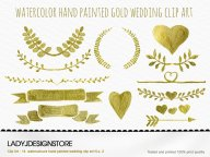 Watercolor Gold Clip Art No.2 - 12 Gold Metallic Watercolor
