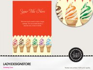 All flavors ice cream cone party invitation card