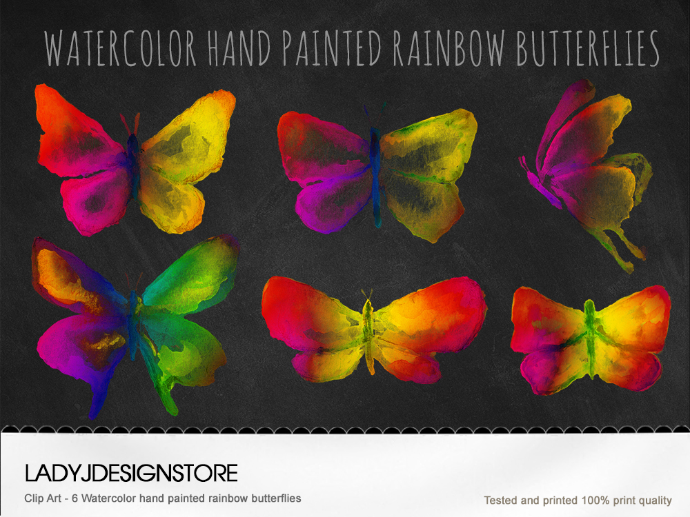 Watercolor Hand Painted Rainbow Butterflies