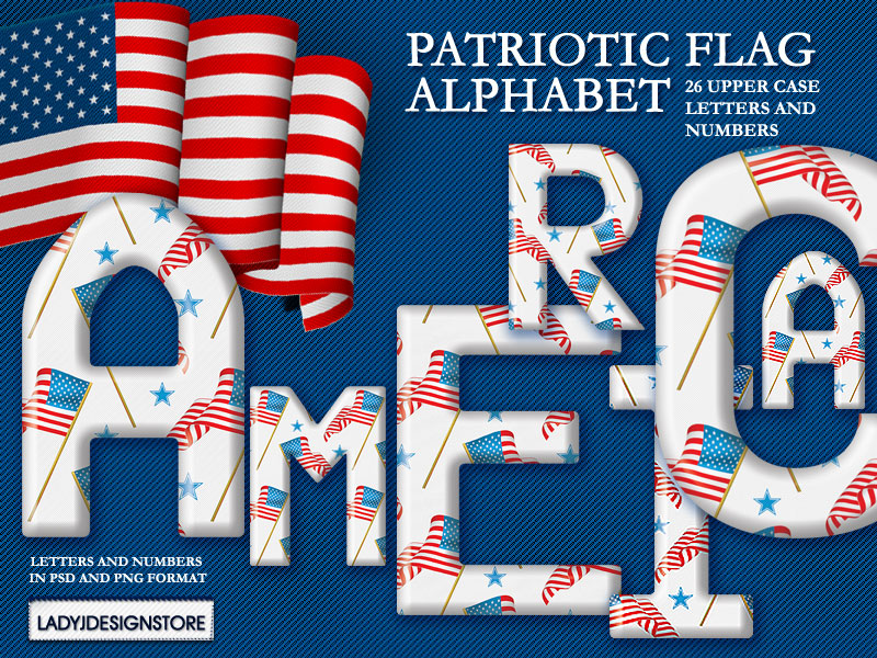 Digital decorative  patriotic flag alphabet