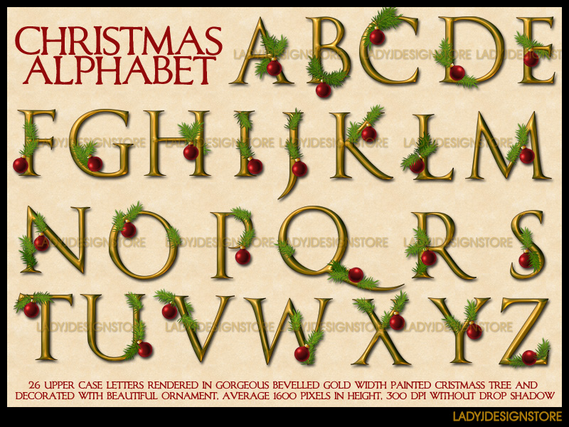 Digital decorative gold Christmas alphabet