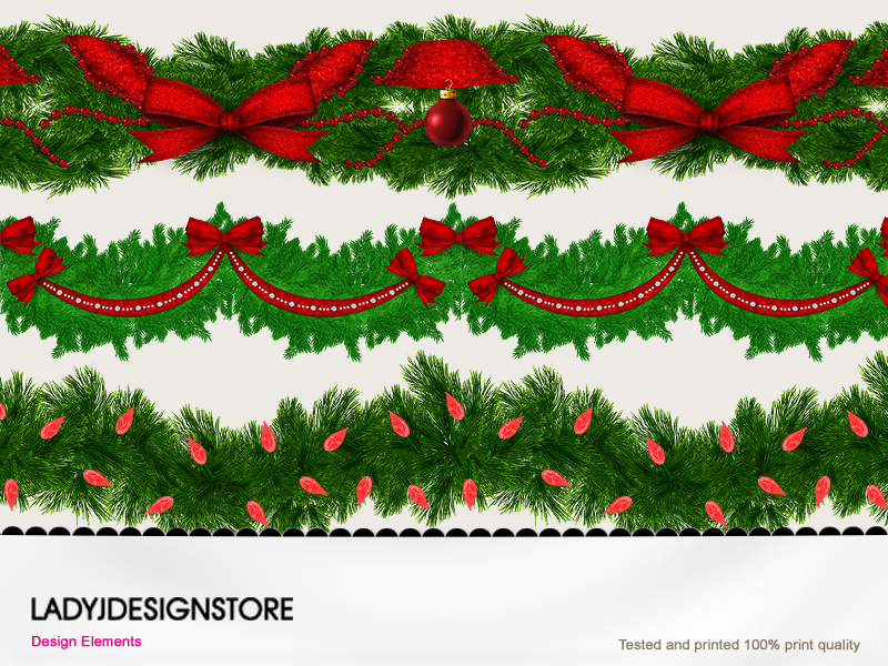Christmas garlands with red elements
