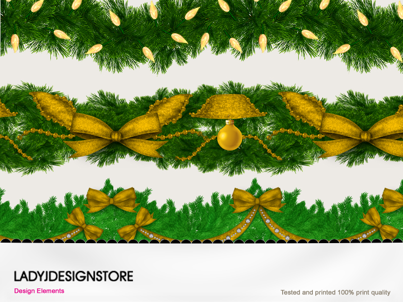 Christmas garlands with gold elements