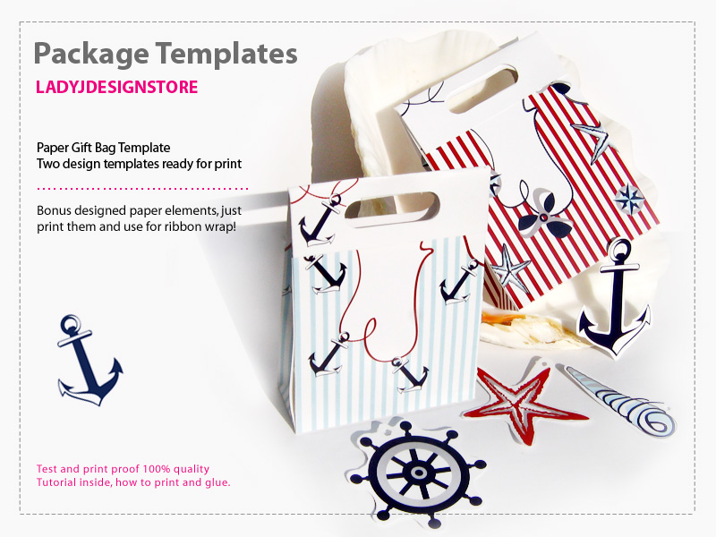 Nautical Paper Gift Box Template