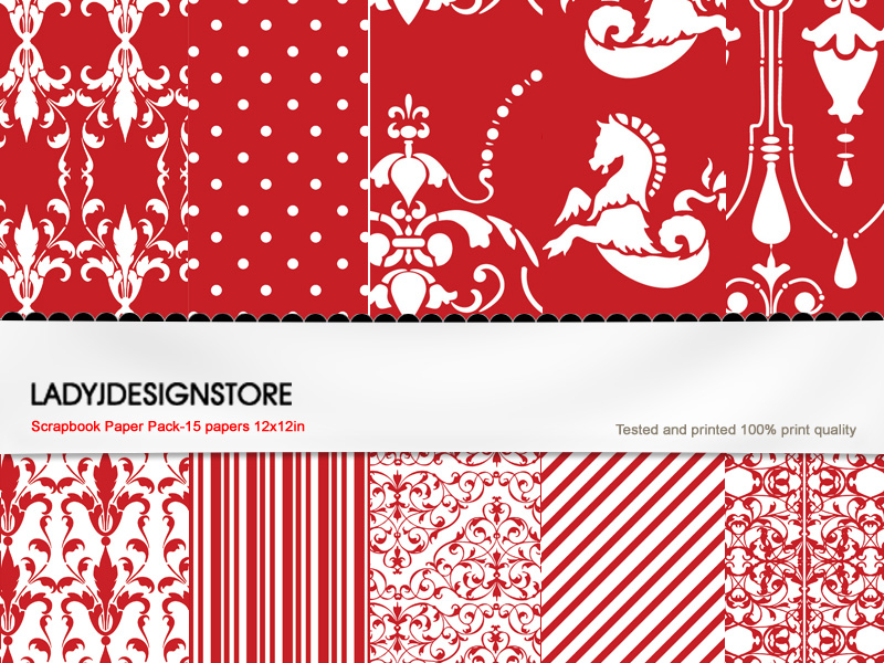 Digital papers - Red and White  -  Floral