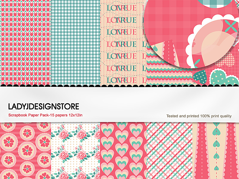 Digital papers - Valentine Pink