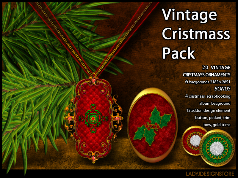Vintage Christmas ornaments pack